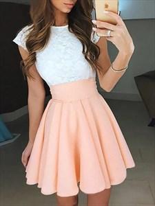 Pale Pink Bateau Cap Sleeve Pleated Short Dresses With Keyhole Back