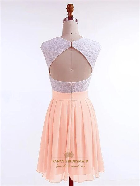 Pale Pink Bateau Cap Sleeve Pleated Short Dresses With Keyhole Back