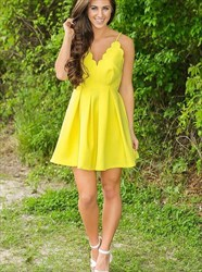 Yellow Spaghetti Strap Sleeveless Pleated Satin Short Prom Dress