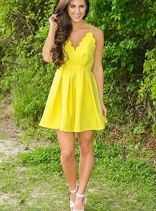 Yellow Spaghetti Strap Sleeveless Pleated Satin Short Prom Dress