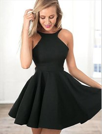 Simple Black Bateau Neckline Pleated Short Homecoming Dresses