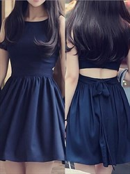 Elegant Bateau Ruched Waist Chiffon Short Dress With Keyhole Back