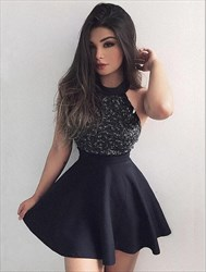 Black High Neck Beaded Sleeveless Satin Short Homecoming Dresses