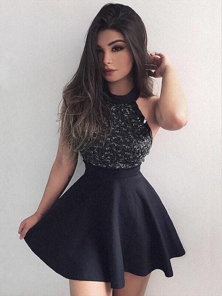 Black High Neck Beaded Sleeveless Satin Short Homecoming Dresses