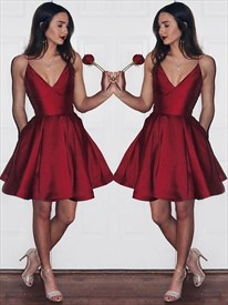 Burgundy Spaghetti Strap Pleated Short Prom Dress With Pockets