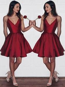 Burgundy Spaghetti Strap Pleated Short Prom Dress With Pockets