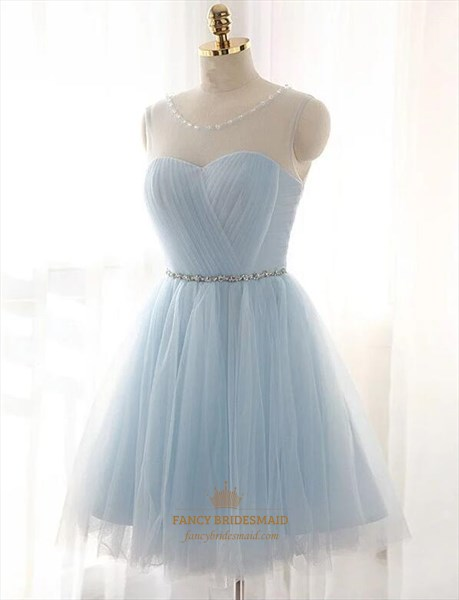 Light Blue Sleeveless Ruched Short Tulle Prom Dress With Beaded Belt