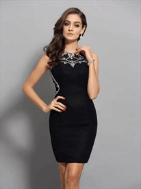 Black Bateau Neckline Crystal Sleeveless Sheath Chiffon Short Dress