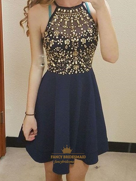 Navy Blue Halter Crystal Embellished Short Chiffon Prom Dresses
