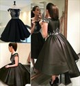 Black Bateau Beaded Cap Sleeve Ball Gown High Low Short Prom Dress