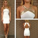 Cross Neck White Chiffon Sheath Short Dress With Keyhole Back