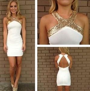 Cross Neck White Chiffon Sheath Short Dress With Keyhole Back