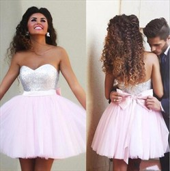 Light Pink Sweetheart Sequin Top Tulle Ball Gown Mini Dress With Bow