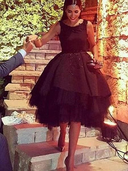 Black A Line Bateau Sleeveless Beaded Backless Short Satin Dress
