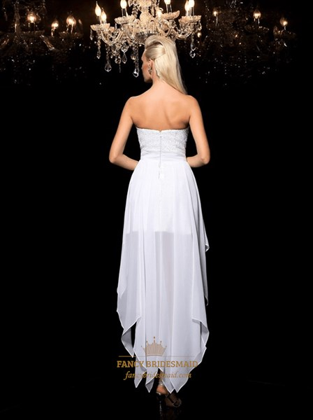 White Sweetheart Sleeveless Asymmetrical High Low Dress With Crystal