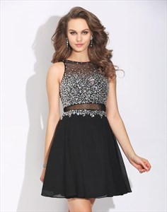 A Line Black Bateau Beaded Bodice Sheer Back Short Chiffon Prom Dress