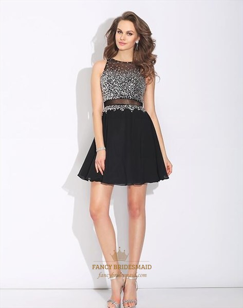 A Line Black Bateau Beaded Bodice Sheer Back Short Chiffon Prom Dress