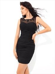 Black Jewel Sleeveless Ruched Sheer Back Short Sheath Chiffon Dress