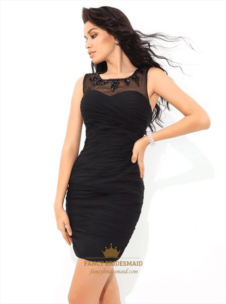 Black Jewel Sleeveless Ruched Sheer Back Short Sheath Chiffon Dress