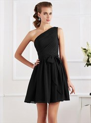 A Line One Shoulder Ruched Draped Chiffon Dress With Bow On Front