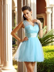 Light Blue V Neck Ruched Beaded Tulle Short Dress With Ruffle