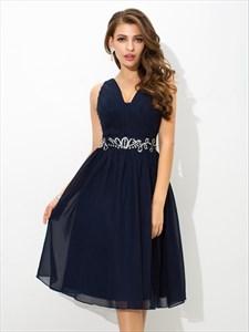 Navy Blue A Line V Neck Beaded Keyhole Ruched Short Chiffon Dress