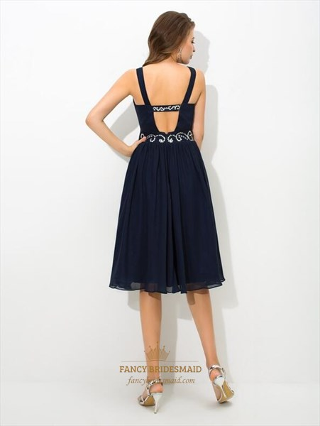 Navy Blue A Line V Neck Beaded Keyhole Ruched Short Chiffon Dress