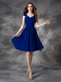 Royal Blue Square Neck Sleeveless Scoop Back Draped Short Dress