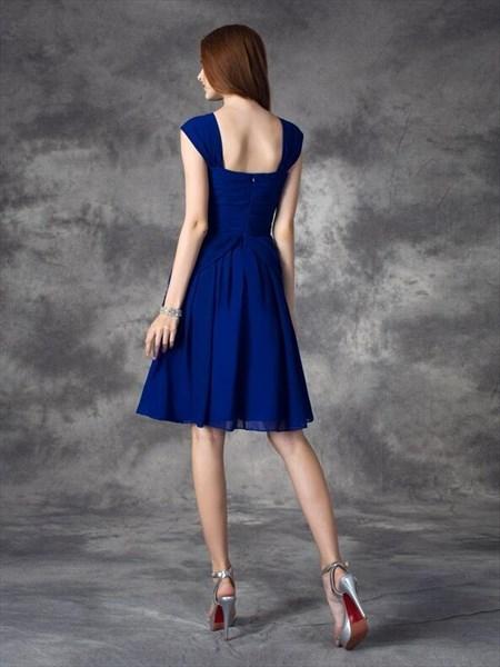 Royal Blue Square Neck Sleeveless Scoop Back Draped Short Dress