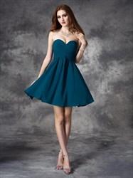 Simple A Line Sweetheart Sleeveless Draped Short Chiffon Dress