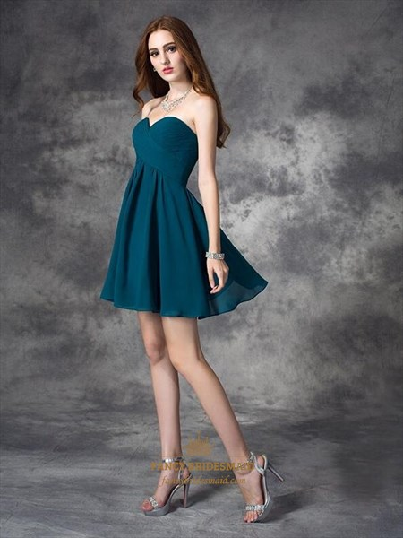 Simple A Line Sweetheart Sleeveless Draped Short Chiffon Dress