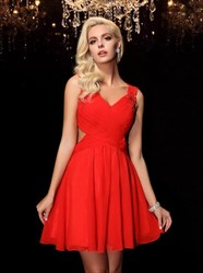 Red Sleeveless Beaded Ruched Keyhole Back Short Chiffon Dress