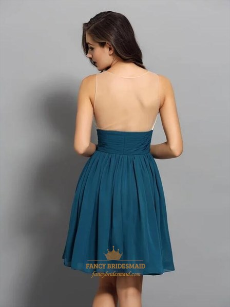 Short Sleeveless Beaded Bodice Ruched Chiffon Dresses With Sheer Back