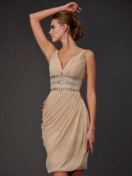 Champagne V Neck Ruched Chiffon Short Prom Dress With Rhinestones