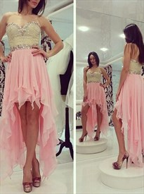 Sweetheart Neckline Rhinestone Chiffon High Low Dress With Ruffles