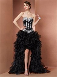 Black Sweetheart Applique Organza High Low Prom Dress With Ruffled