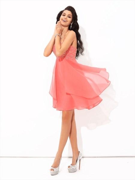 A Line Coral Halter Sleeveless Beaded Short Chiffon Prom Dress