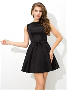 Black Bateau Neck Beaded V Back Satin Short Dresses With Sash