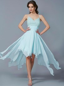 Spaghetti Strap Beaded Ruched Waist High Low Chiffon Prom Dress