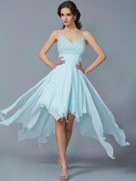 Spaghetti Strap Beaded Ruched Waist High Low Chiffon Prom Dress