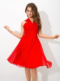 A Line Red Halter Neck Sleeveless Ruched Chiffon Short Prom Dress
