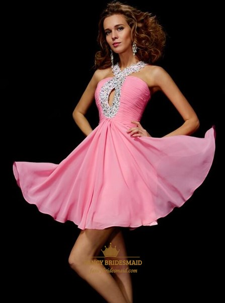 Peach Halter Neck Beaded Ruched Bodice Keyhole Short Prom Dress
