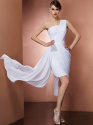One Shoulder Sleeveless Beaded Ruched Sheath Chiffon Short Dress