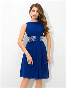 Royal Blue Bateau Neckline Draped Short Prom Dress With Beaded Waist