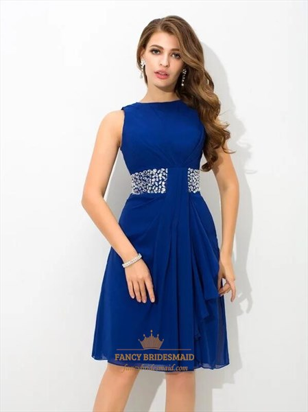 Royal Blue Bateau Neckline Draped Short Prom Dress With Beaded Waist