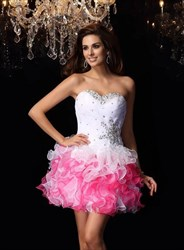 Sweetheart Beaded Organza Short Dress With Lace Up Back And Ruffled