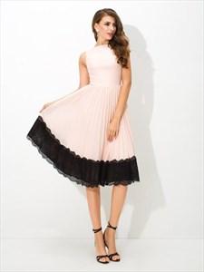 High Neck Sleeveless Draped Chiffon Tea Length Dress With Black Lace