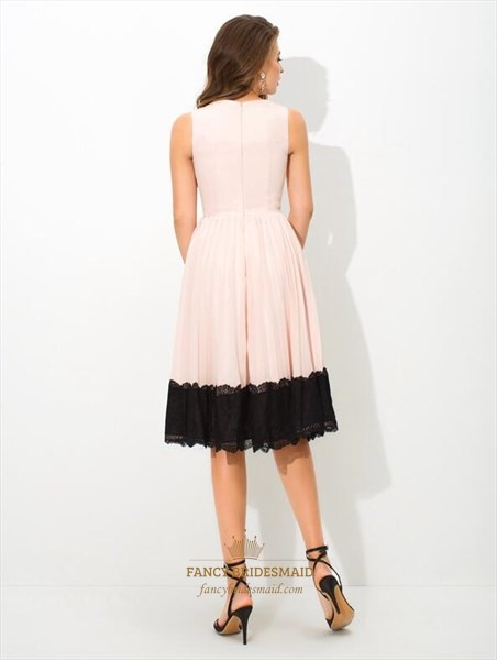 High Neck Sleeveless Draped Chiffon Tea Length Dress With Black Lace