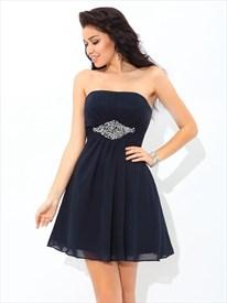 A Line Navy Blue Strapless Beaded Pleated Short Chiffon Dress