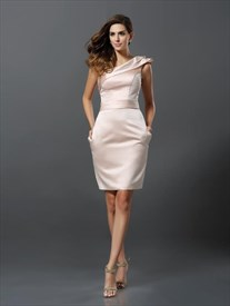 Simple One Shoulder Pleated Sheath Satin Short Homecoming Dresses